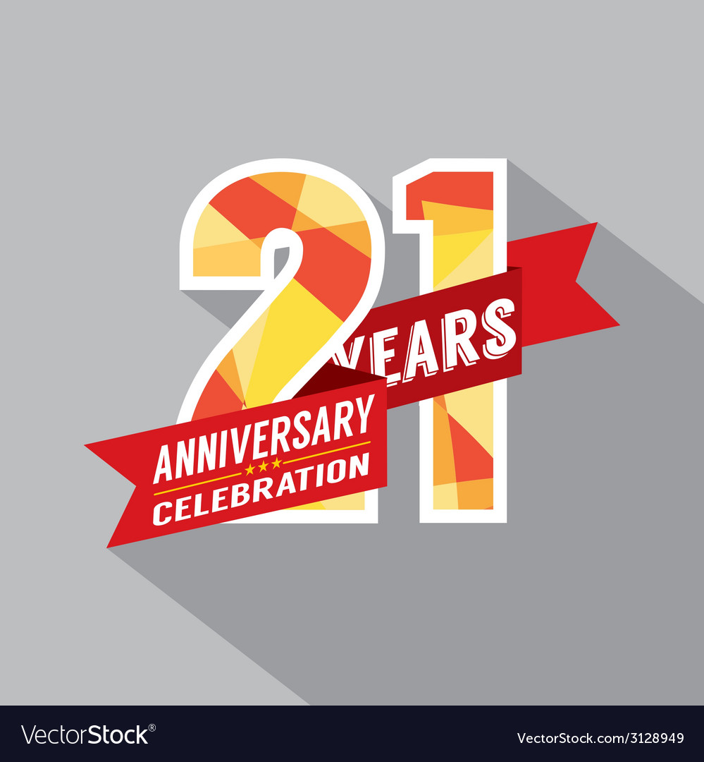 21th years anniversary celebration design vector | Price: 1 Credit (USD $1)