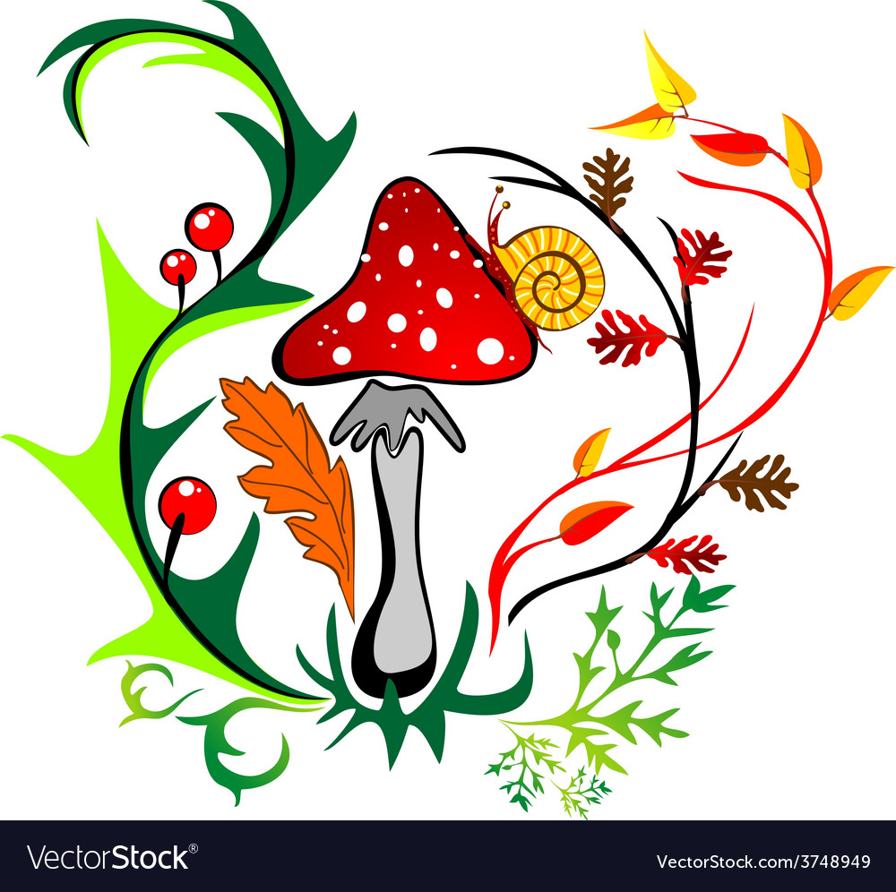 Amanita with snail surrounded by colorful leaves vector | Price: 1 Credit (USD $1)