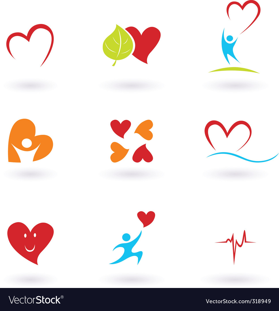 Cardiology and people icons vector | Price: 1 Credit (USD $1)