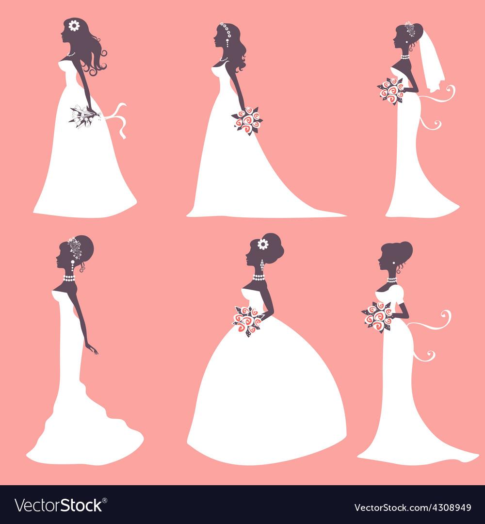 Elegant brides in silhouette vector | Price: 1 Credit (USD $1)
