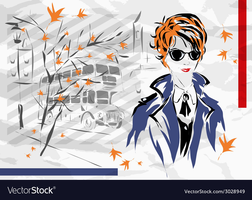Fashion woman in london vector | Price: 1 Credit (USD $1)