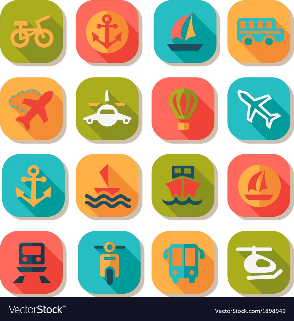 Flat transportation icons set vector | Price: 1 Credit (USD $1)