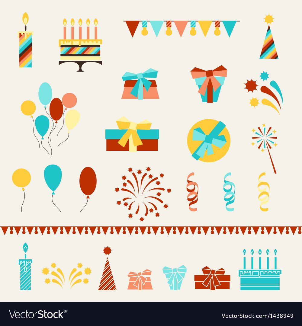 Happy birthday party icons set vector | Price: 1 Credit (USD $1)