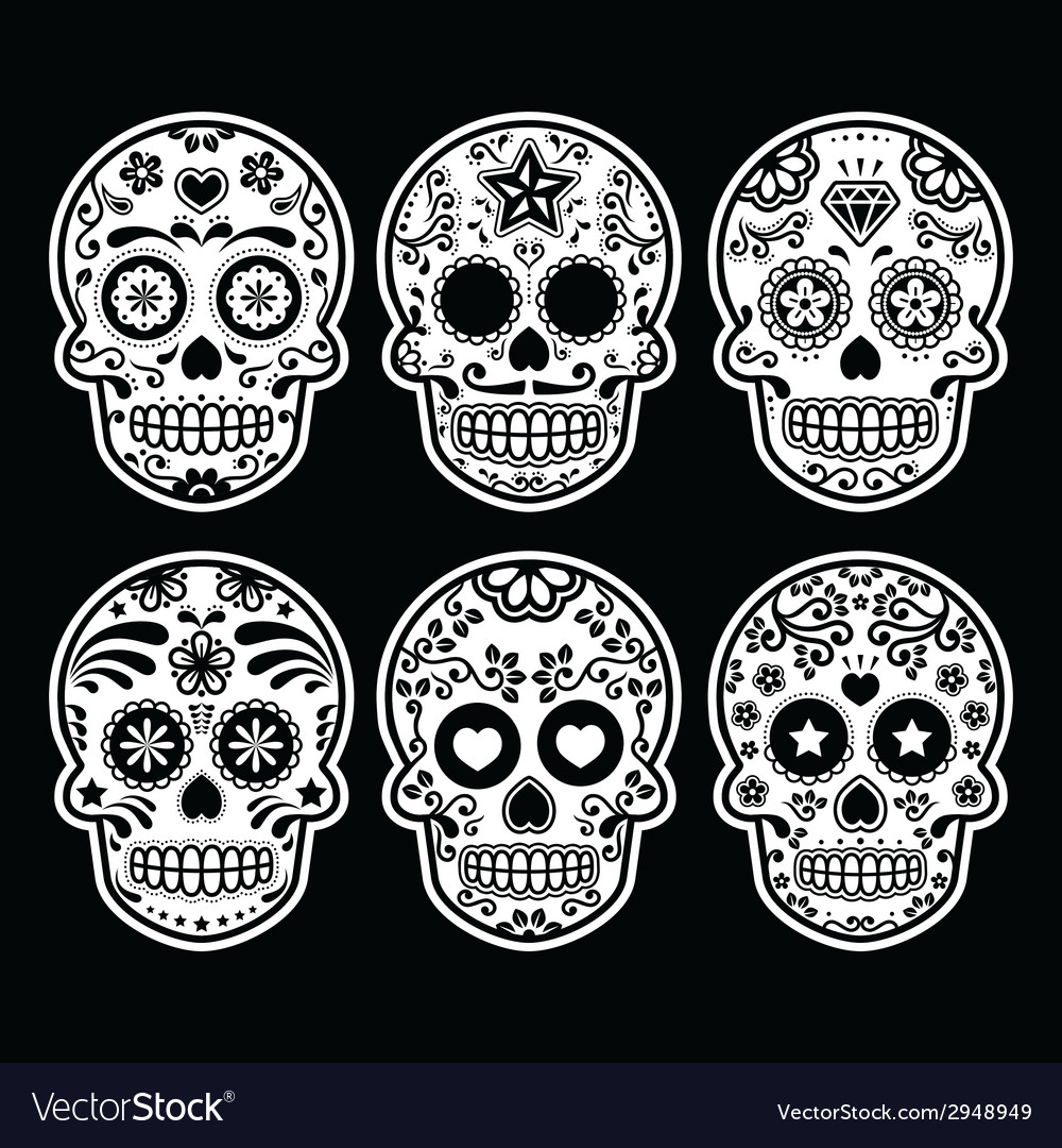 Mexican sugar skull dia de los muertos icons set vector | Price: 1 Credit (USD $1)