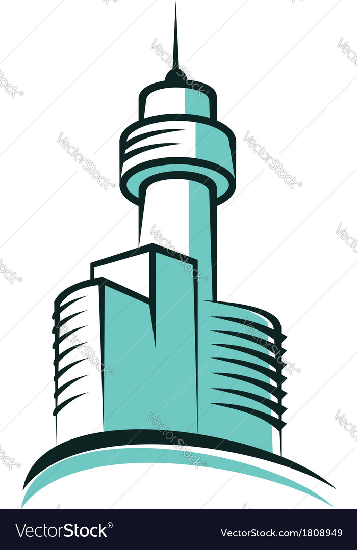 Modern skyscraper symbol with high tower vector | Price: 1 Credit (USD $1)