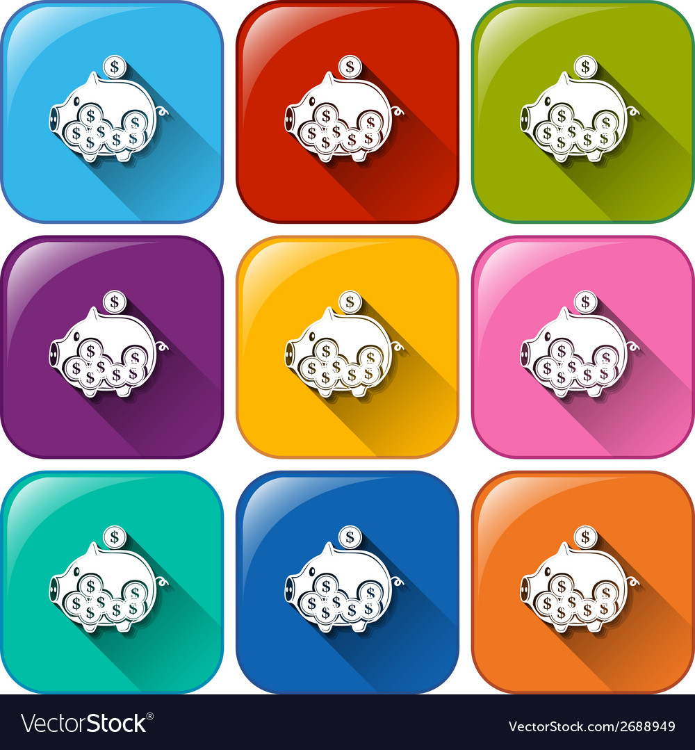 Piggy bank icons vector | Price: 1 Credit (USD $1)