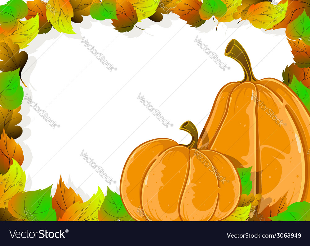 Ripe pumpkins and autumn leaves vector | Price: 1 Credit (USD $1)