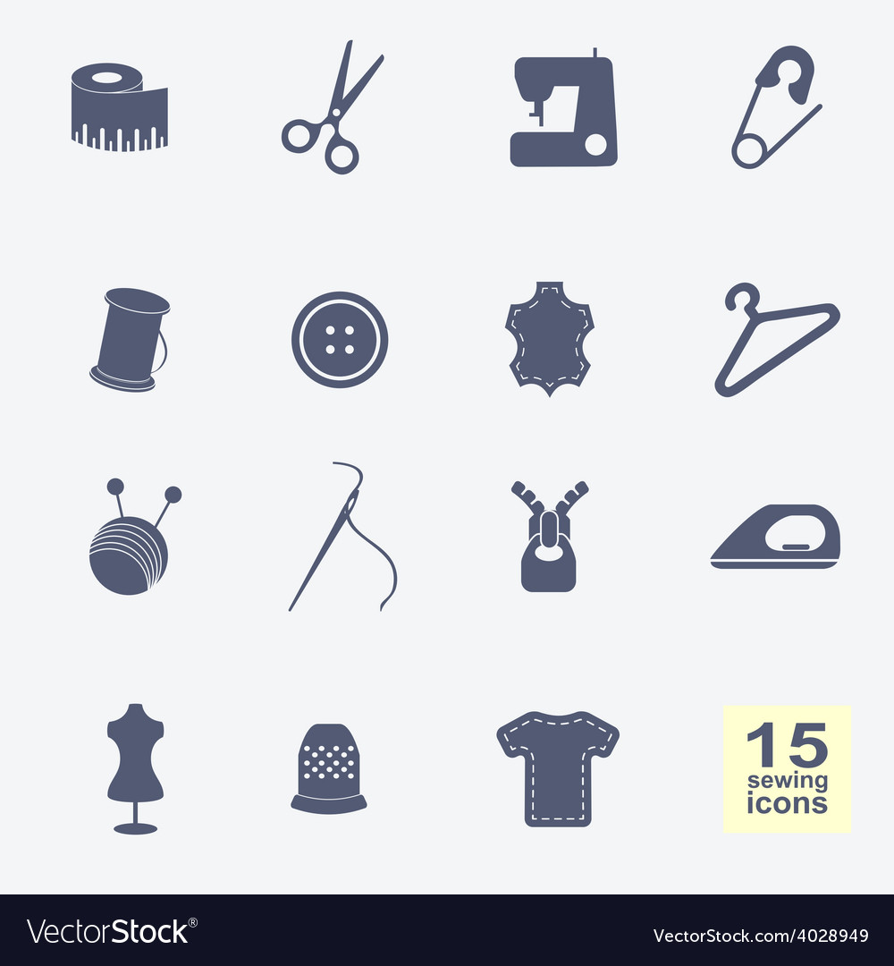 Sewing equipment and needlework icons set vector | Price: 1 Credit (USD $1)