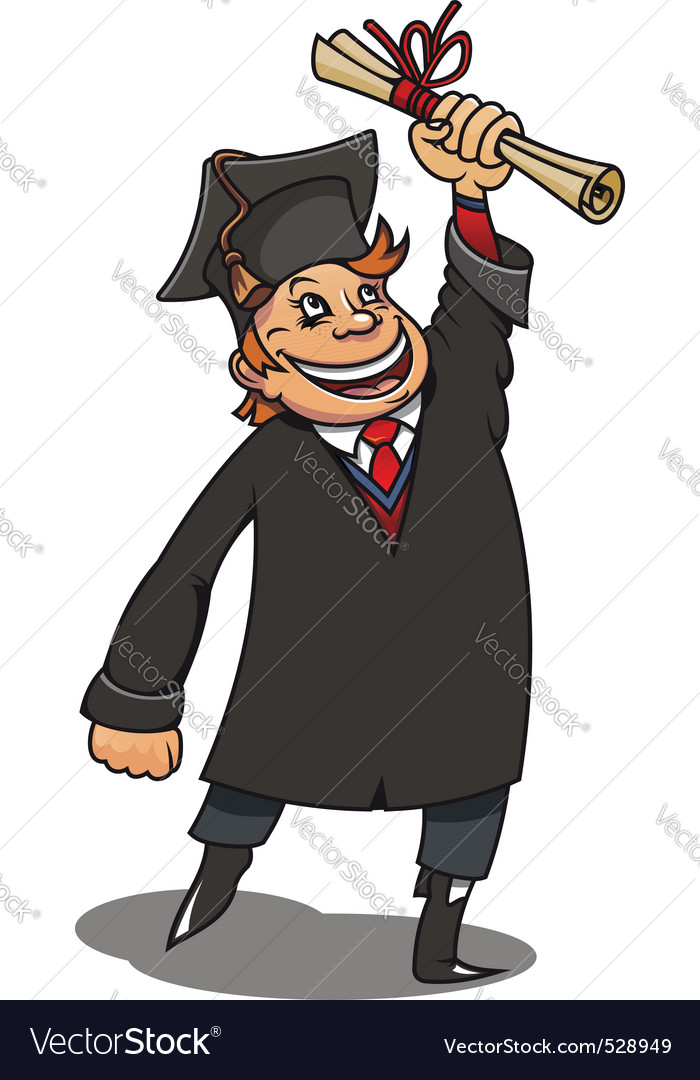 Smiling student with diploma for education concept vector | Price: 3 Credit (USD $3)