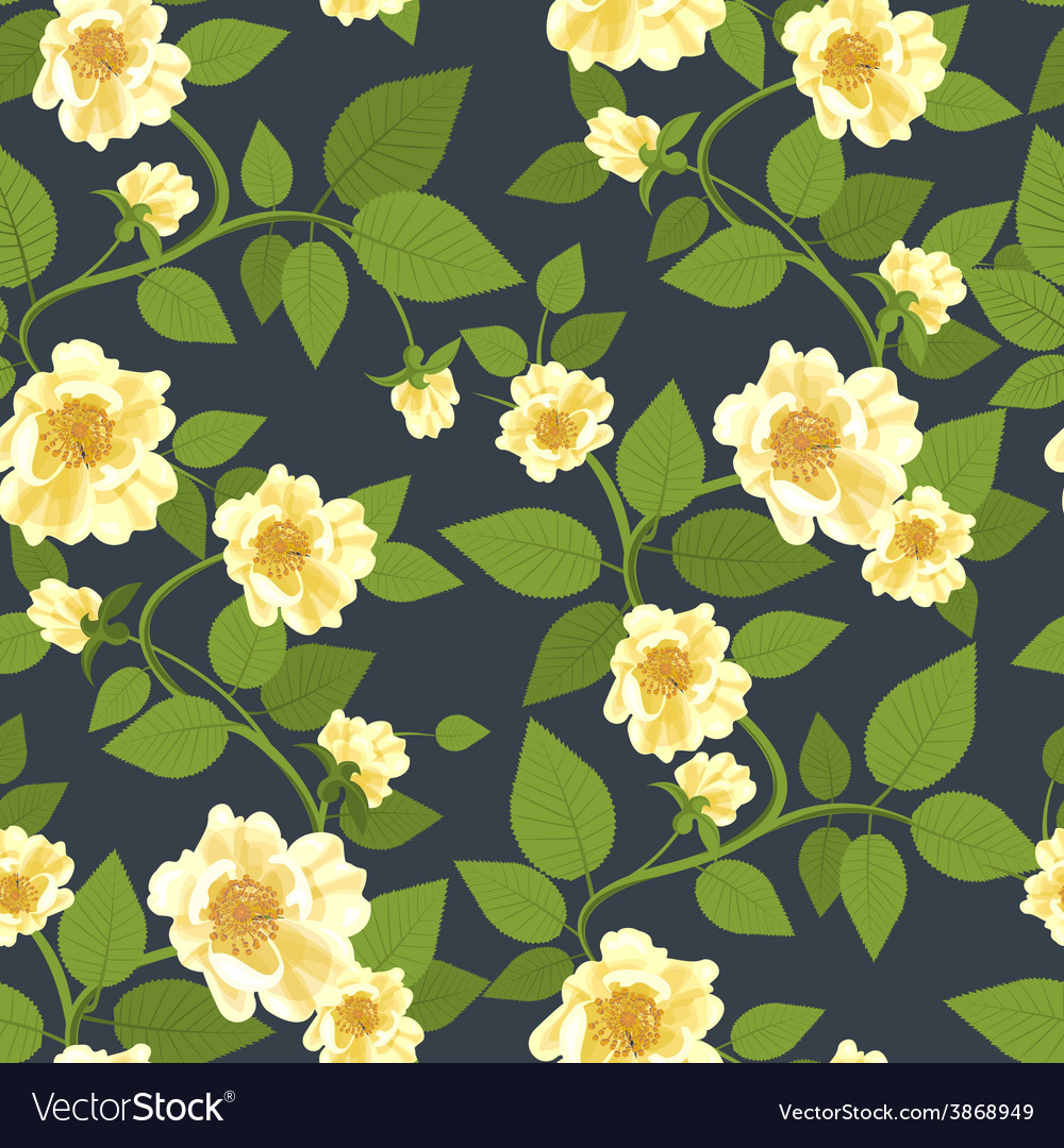 Wild roses retro pattern vector | Price: 1 Credit (USD $1)