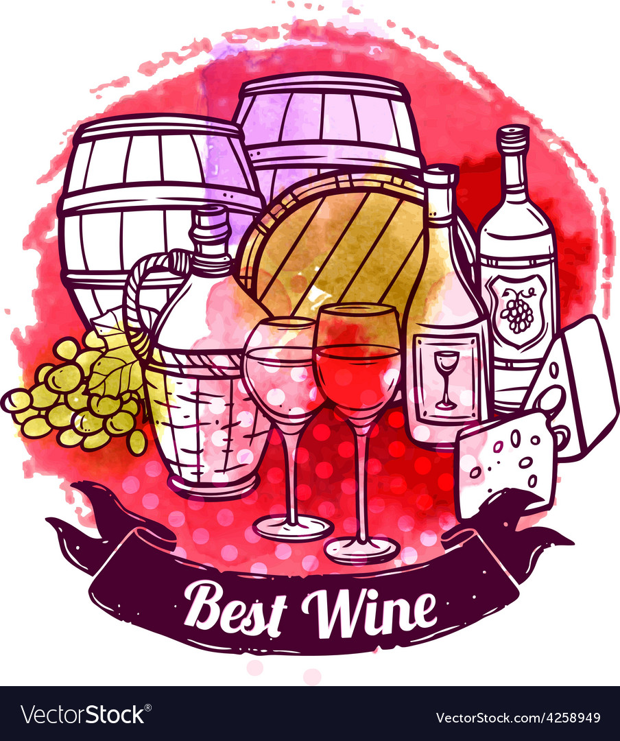 Wine sketch vector | Price: 1 Credit (USD $1)