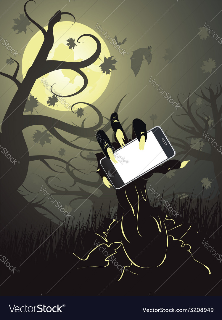 Zombie hand with phone vector   Price: 1 Credit (USD $1)