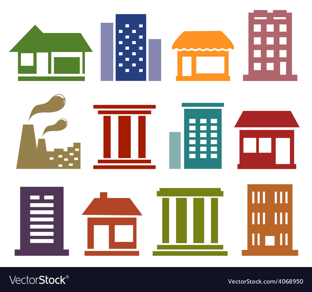 Colorful icons with urban architecture vector | Price: 1 Credit (USD $1)