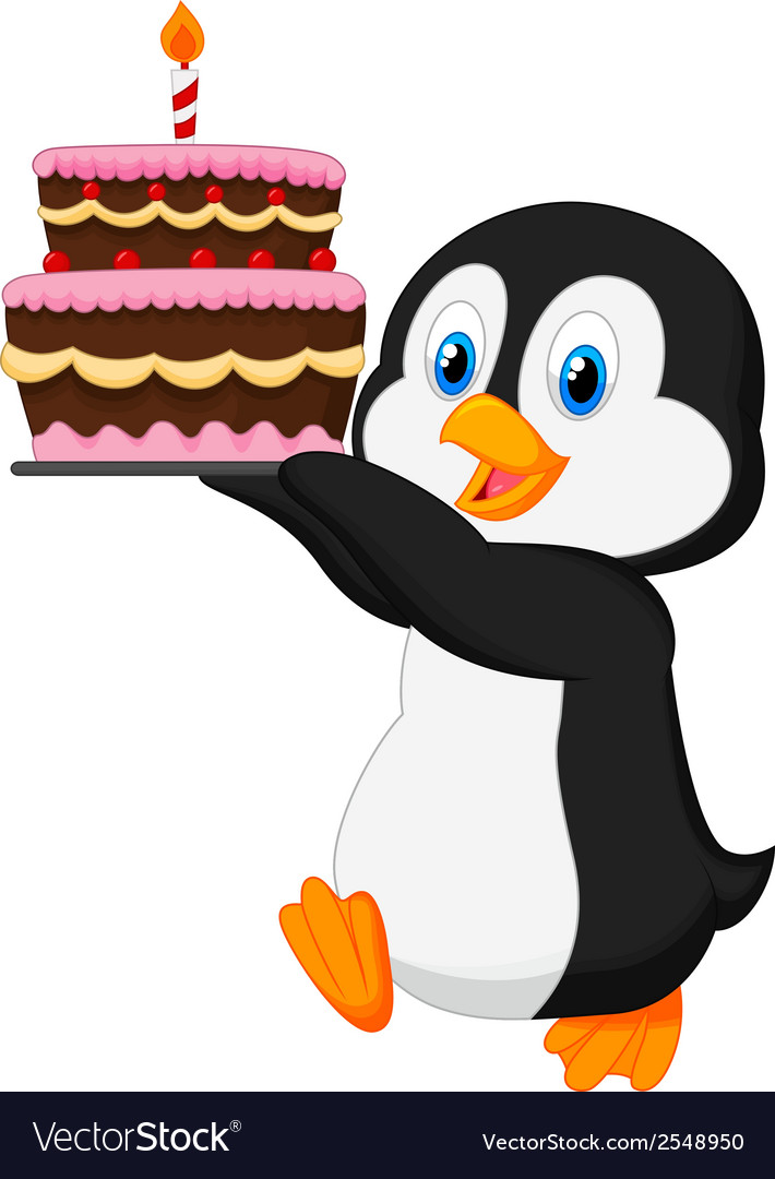 Cute penguin cartoon holding birthday cake vector | Price: 1 Credit (USD $1)