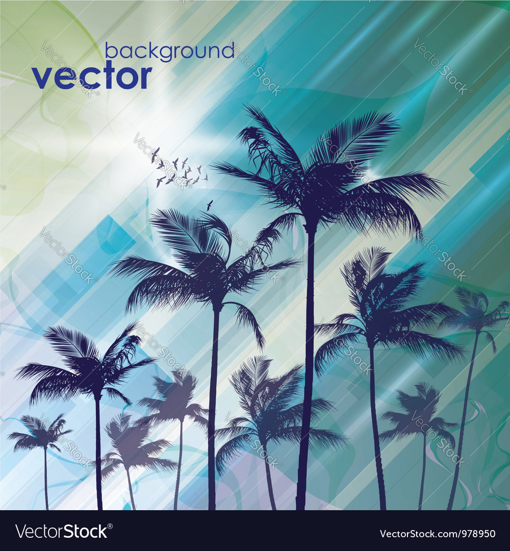 Exotic palm trees background vector | Price: 1 Credit (USD $1)