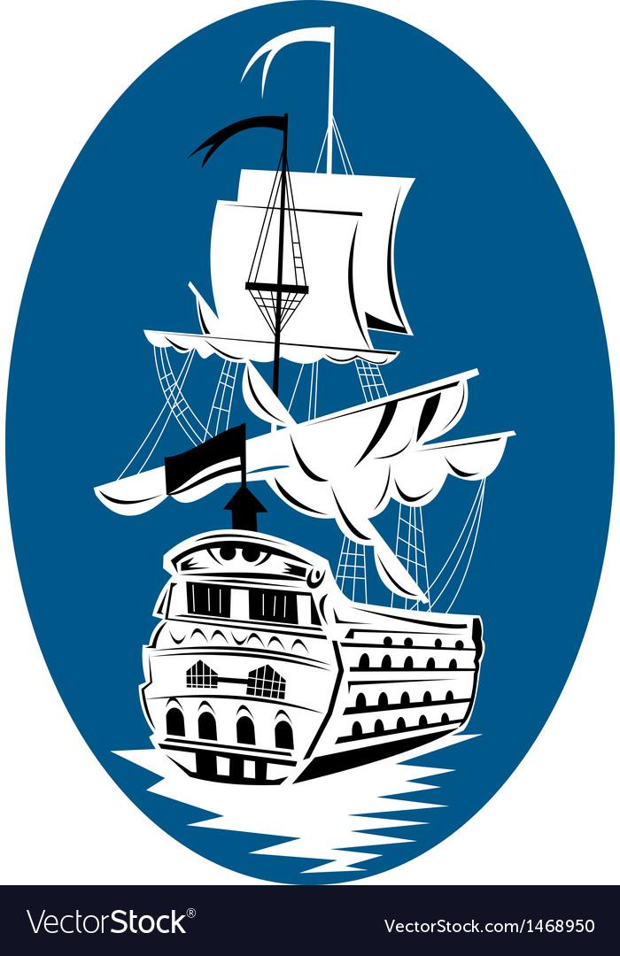 Galleon sailing ship at sea vector | Price: 1 Credit (USD $1)