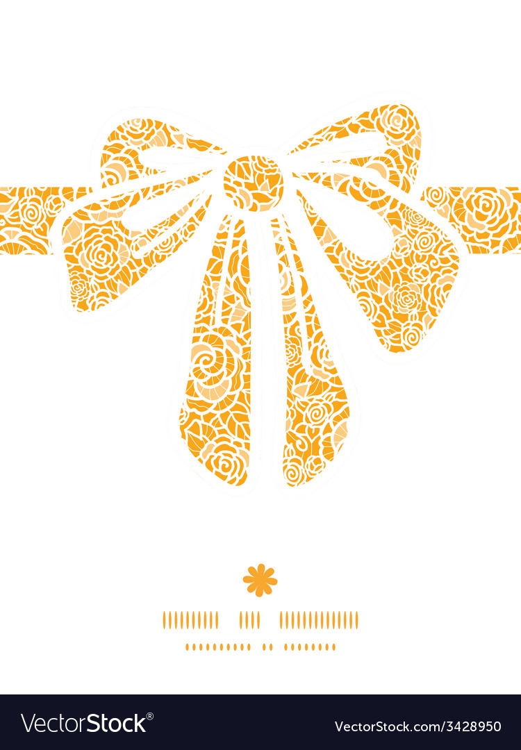 Golden lace roses gift bow silhouette pattern vector | Price: 1 Credit (USD $1)