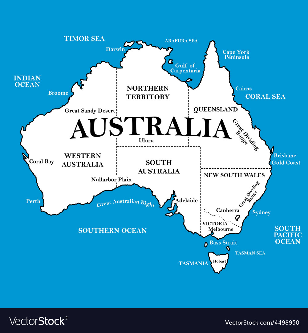 Map of australia with locations on a blue vector | Price: 1 Credit (USD $1)