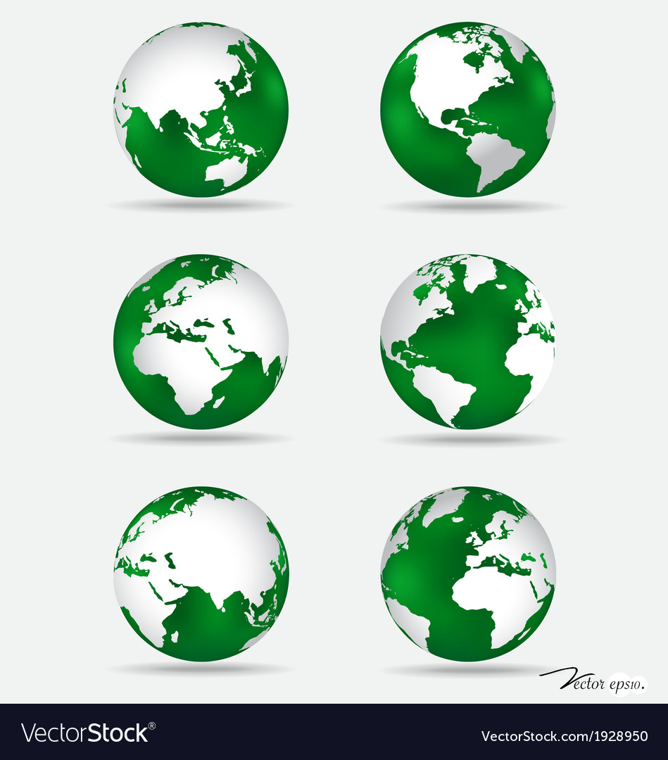 Set of modern green globes vector | Price: 1 Credit (USD $1)