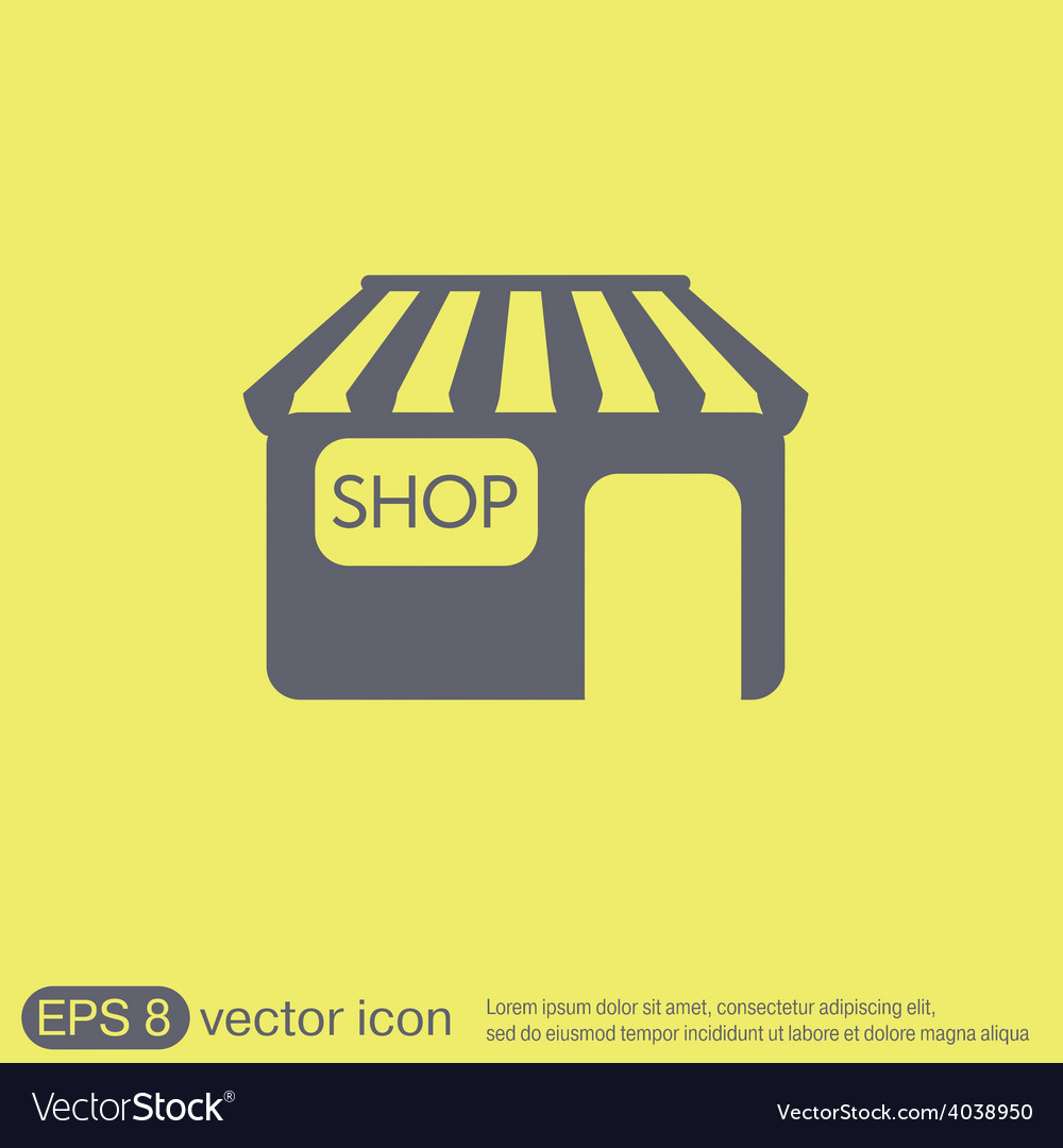 Shop building symbol icon store shopping and vector | Price: 1 Credit (USD $1)