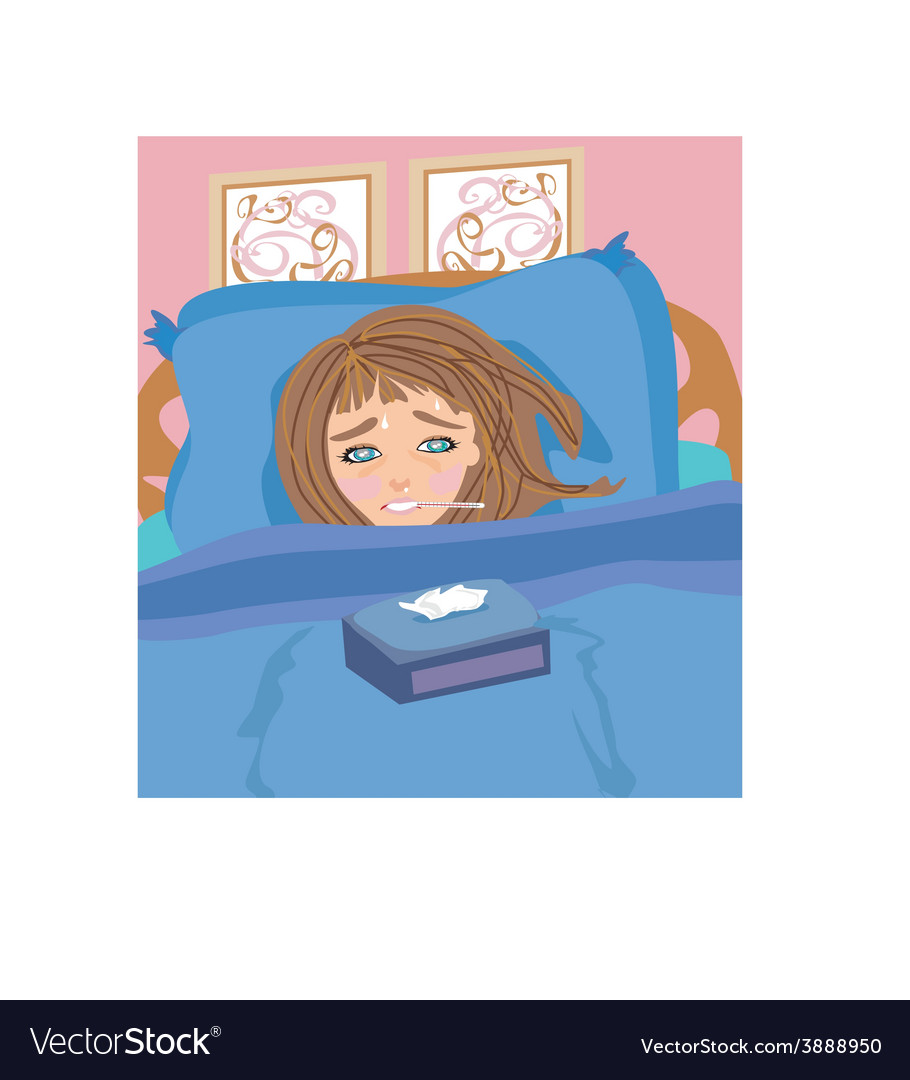 Sick girl lying in bed vector | Price: 1 Credit (USD $1)