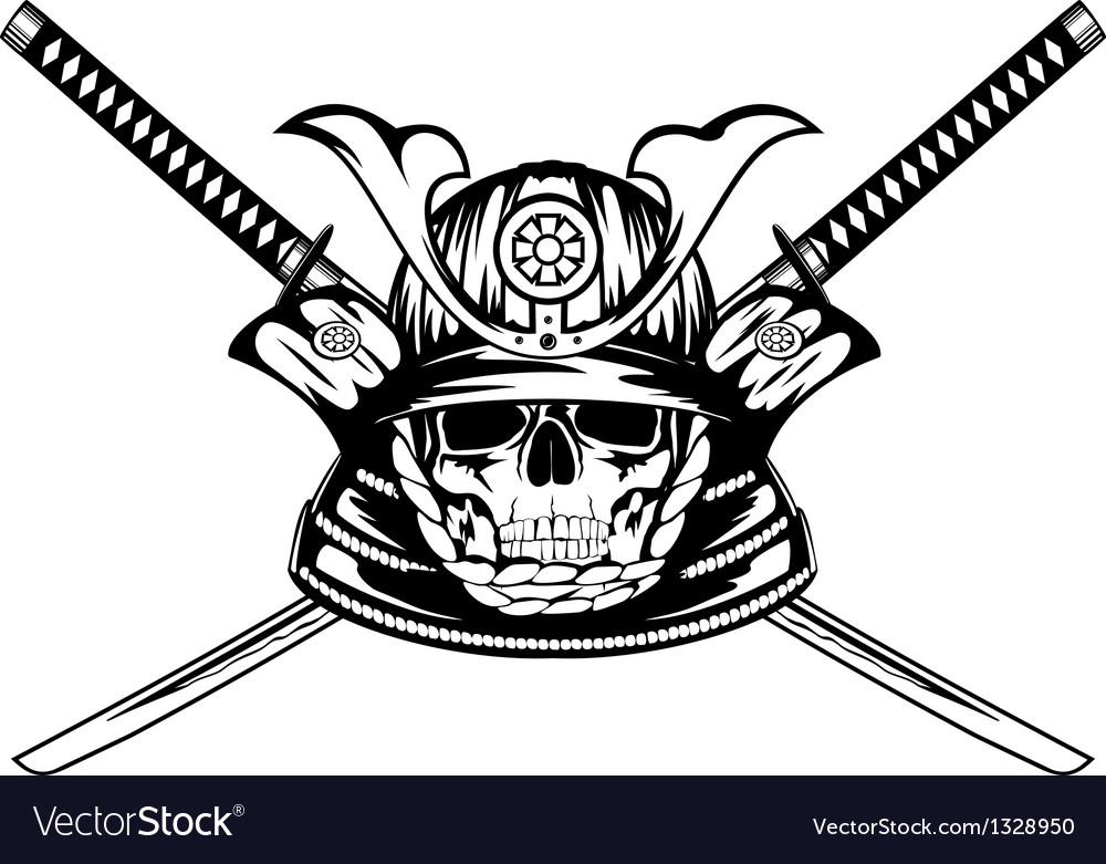 Skull in samurai helmet and crossed katanas vector