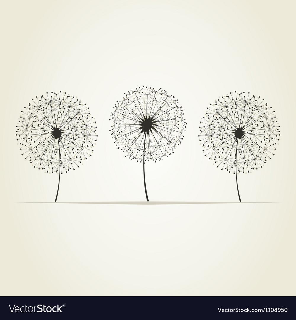 Three dandelions vector | Price: 1 Credit (USD $1)