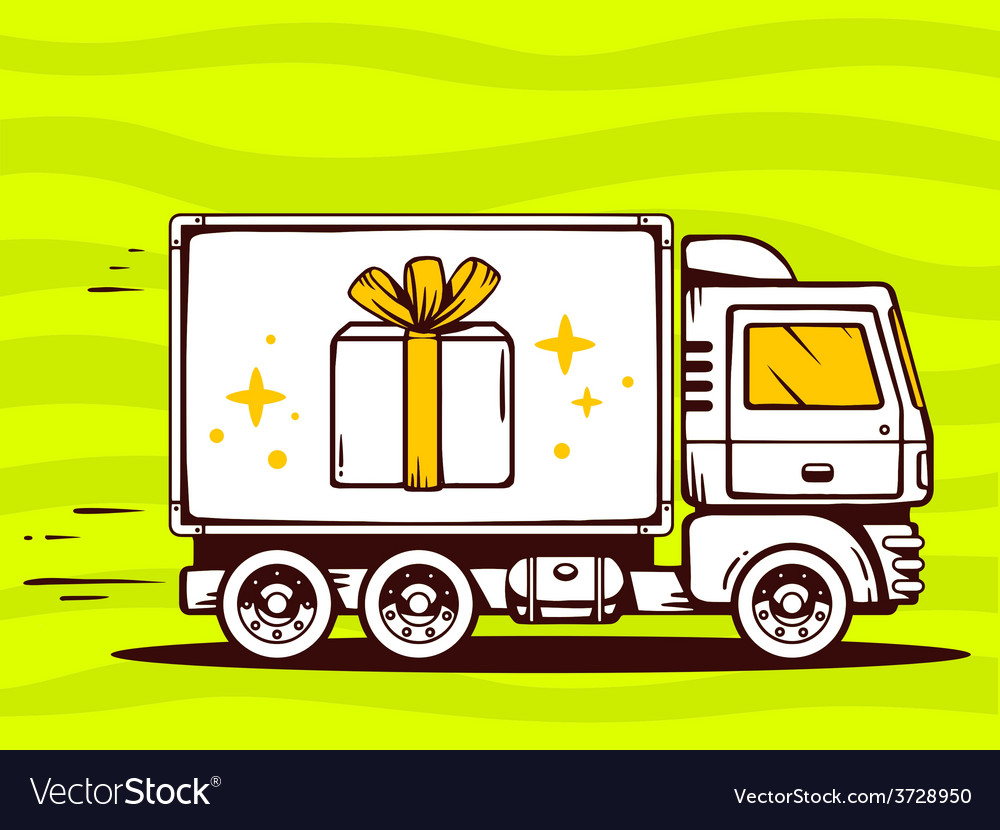 Truck free and fast delivering gift box t vector | Price: 1 Credit (USD $1)