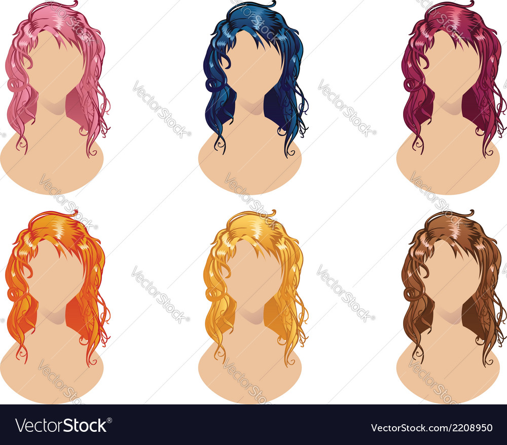 Wavy hair style vector | Price: 1 Credit (USD $1)