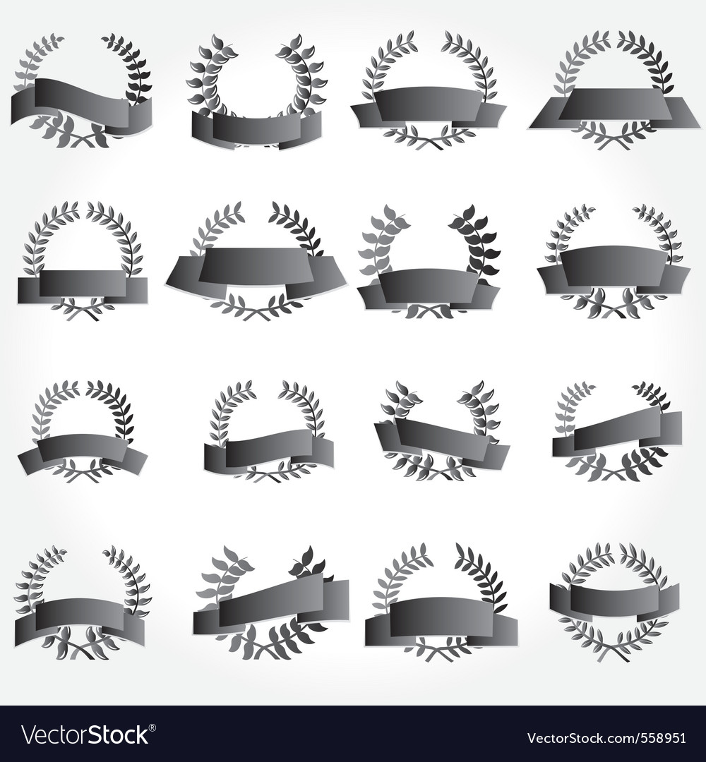 Banner and laurel wreath set vector | Price: 1 Credit (USD $1)