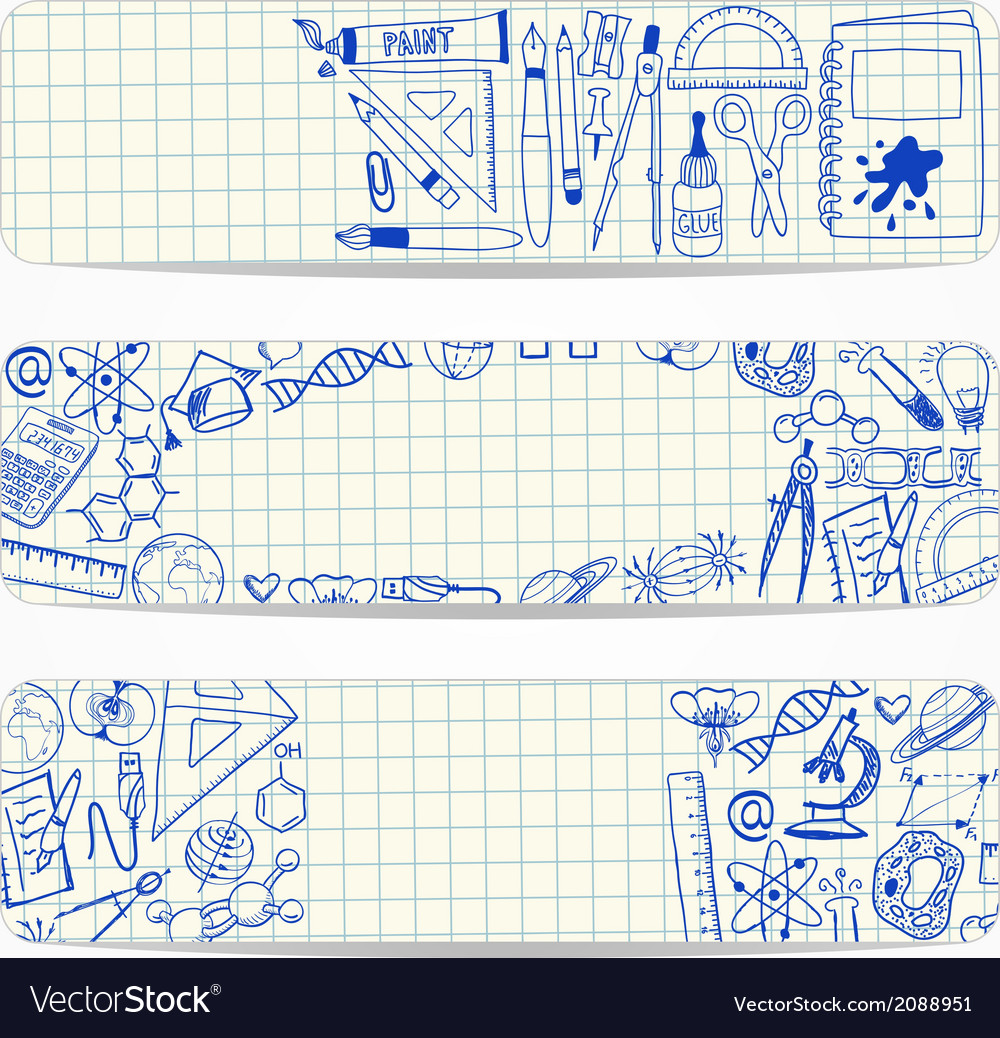 Banners with school and scientific doodles vector | Price: 1 Credit (USD $1)