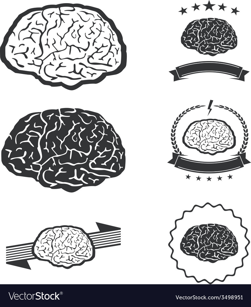 Brain idea concept collection silhouette vector | Price: 1 Credit (USD $1)