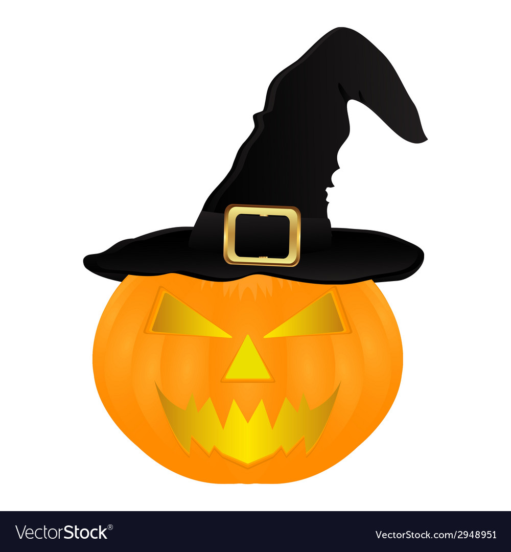 Evil pumpkin witch hat for halloween vector | Price: 1 Credit (USD $1)