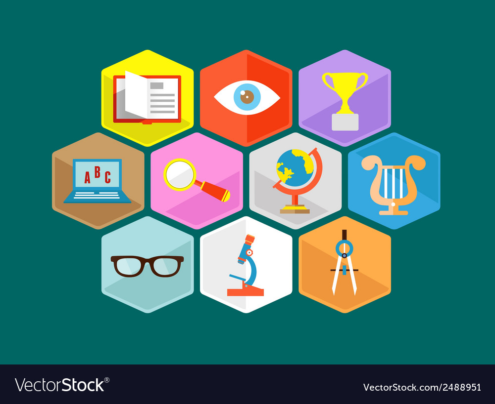 Flat composition of educations components vector | Price: 1 Credit (USD $1)