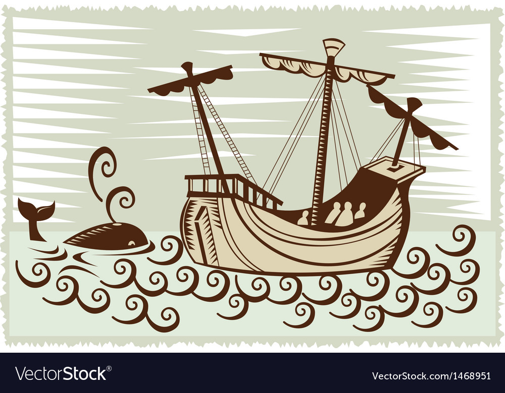 Galleon sailing ship at sea with whale vector | Price: 1 Credit (USD $1)