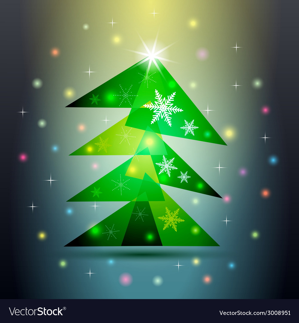 Green christmas fir tree on colorful background vector | Price: 1 Credit (USD $1)