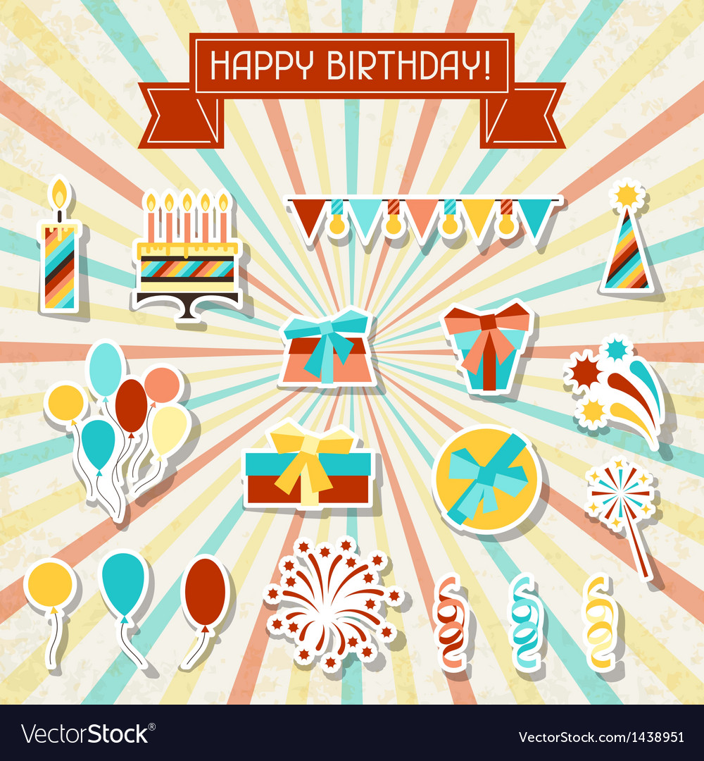 Happy birthday party sticker icons set vector | Price: 3 Credit (USD $3)