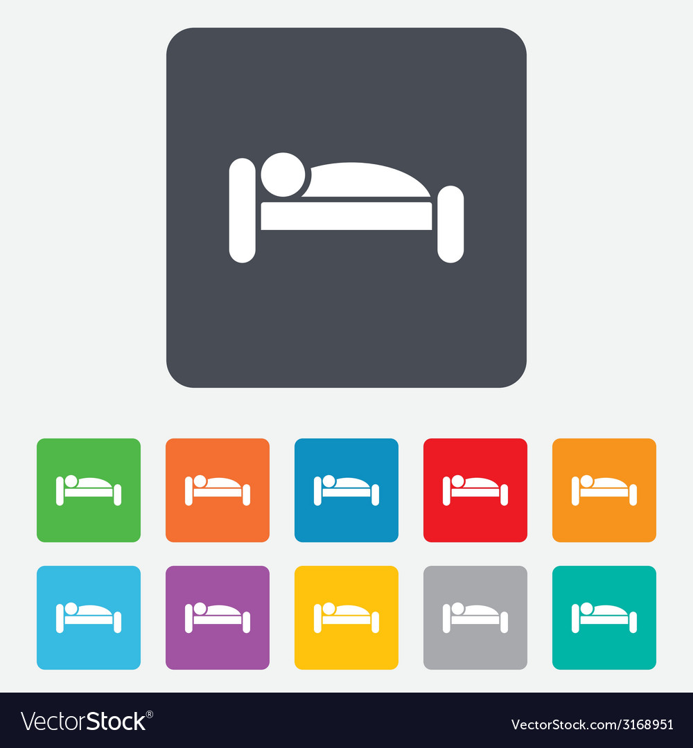 Human in bed icon rest place sleeper symbol vector | Price: 1 Credit (USD $1)