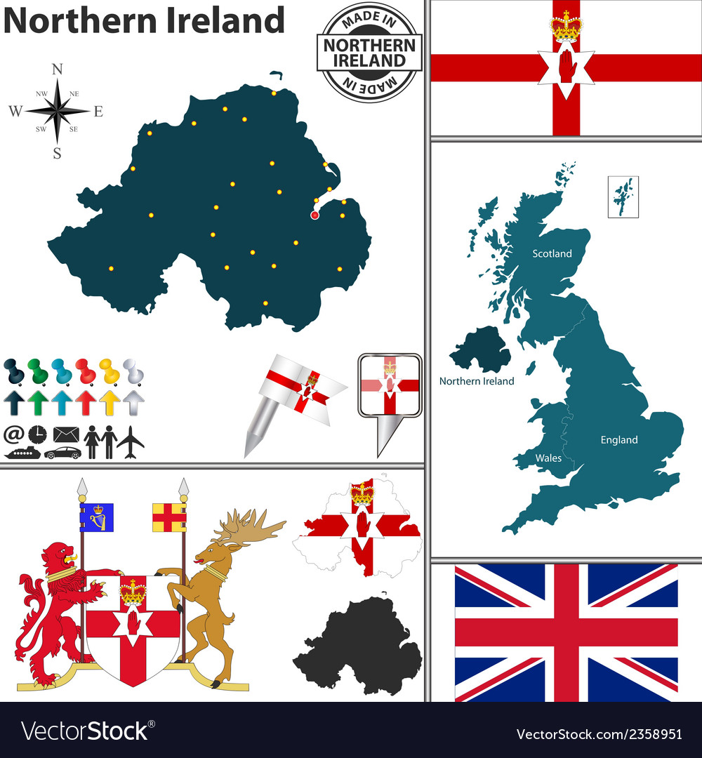 Northern ireland map vector | Price: 1 Credit (USD $1)