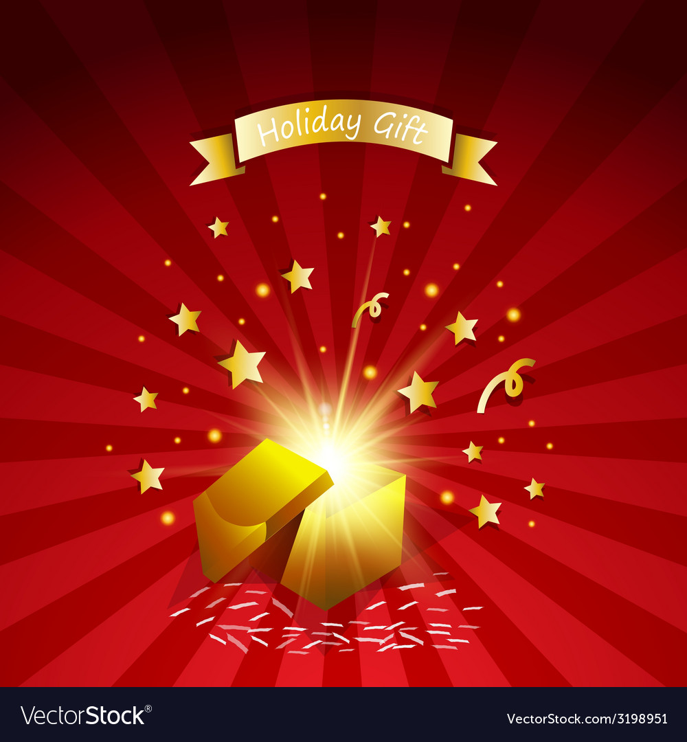 Open magic gift with fireworks from light effect vector | Price: 1 Credit (USD $1)