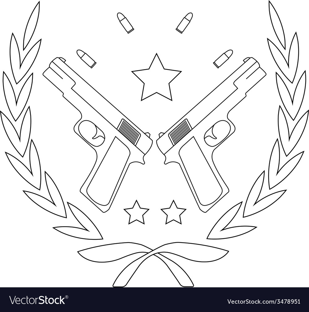 Pistol emblem with bullets line-art vector | Price: 1 Credit (USD $1)