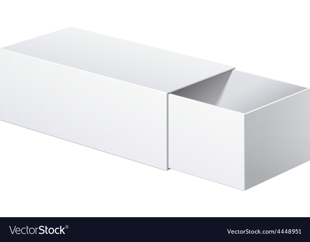 Realistic package cardboard sliding box opened vector | Price: 1 Credit (USD $1)