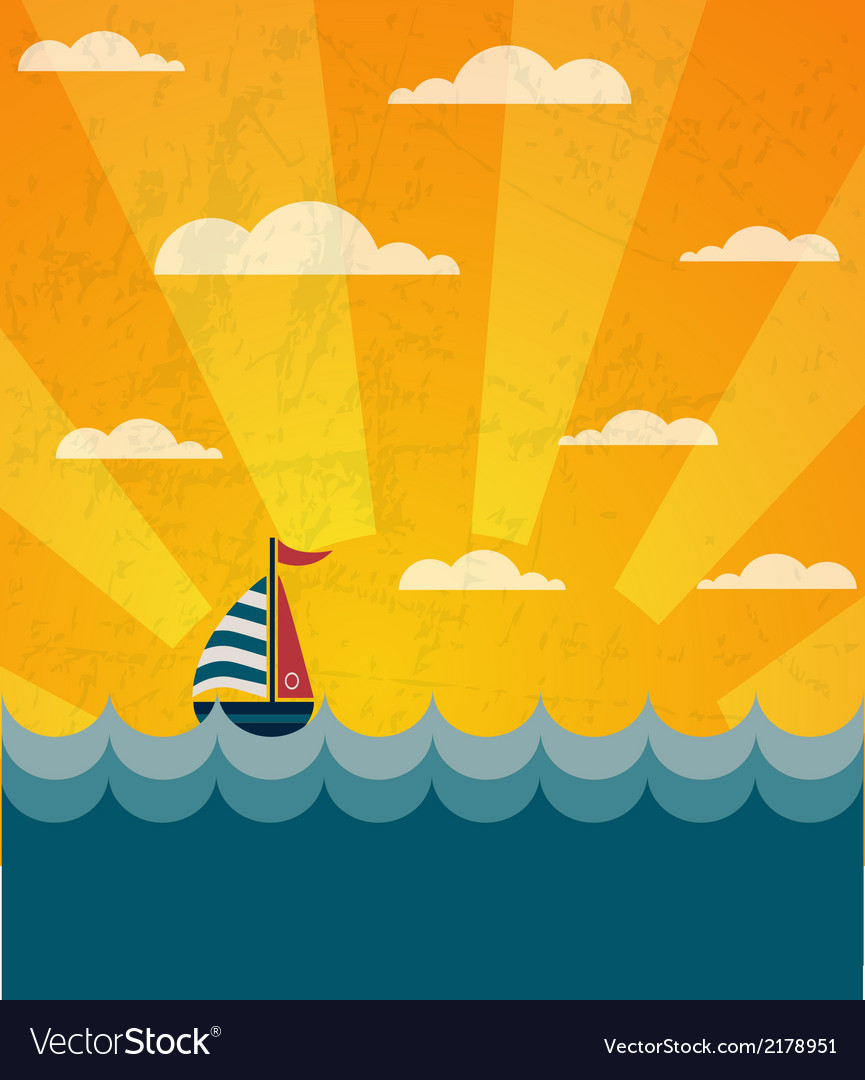 Say hello to summer retro of a boat and wavy sea vector | Price: 1 Credit (USD $1)