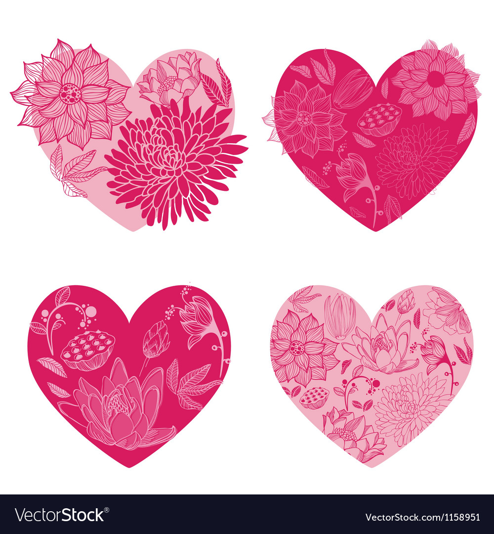 Set of flower hearts vector | Price: 1 Credit (USD $1)