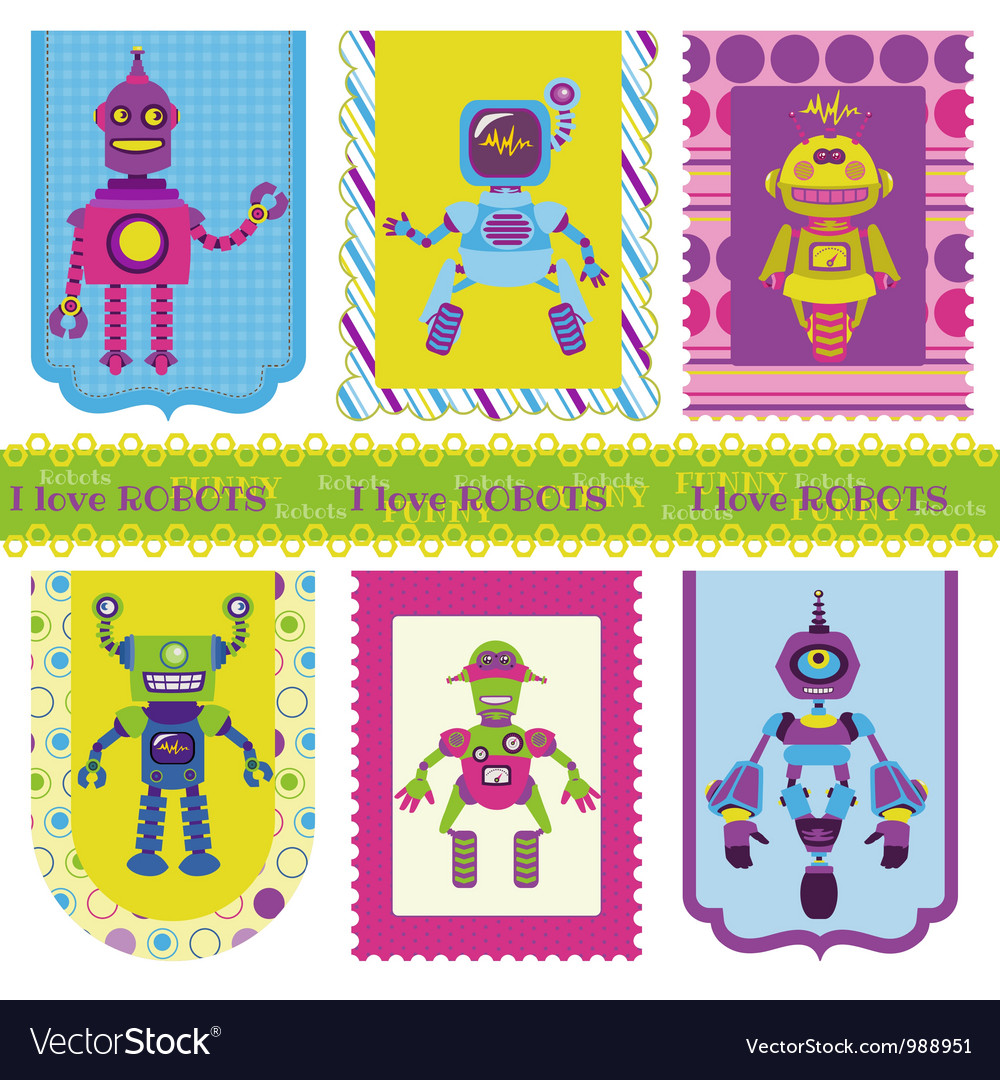 Set of tags - cute little robots vector | Price: 3 Credit (USD $3)