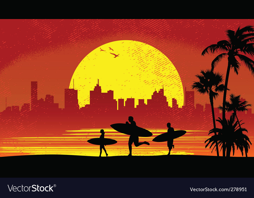 Surfer with sunset vector | Price: 1 Credit (USD $1)