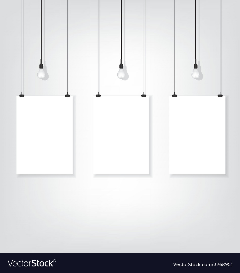 Three white poster on wall and bulb vector | Price: 1 Credit (USD $1)