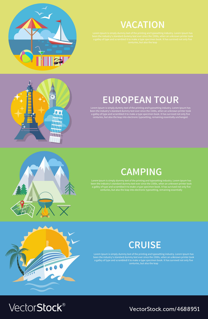 Traveling cruise ship and camping concept vector | Price: 1 Credit (USD $1)