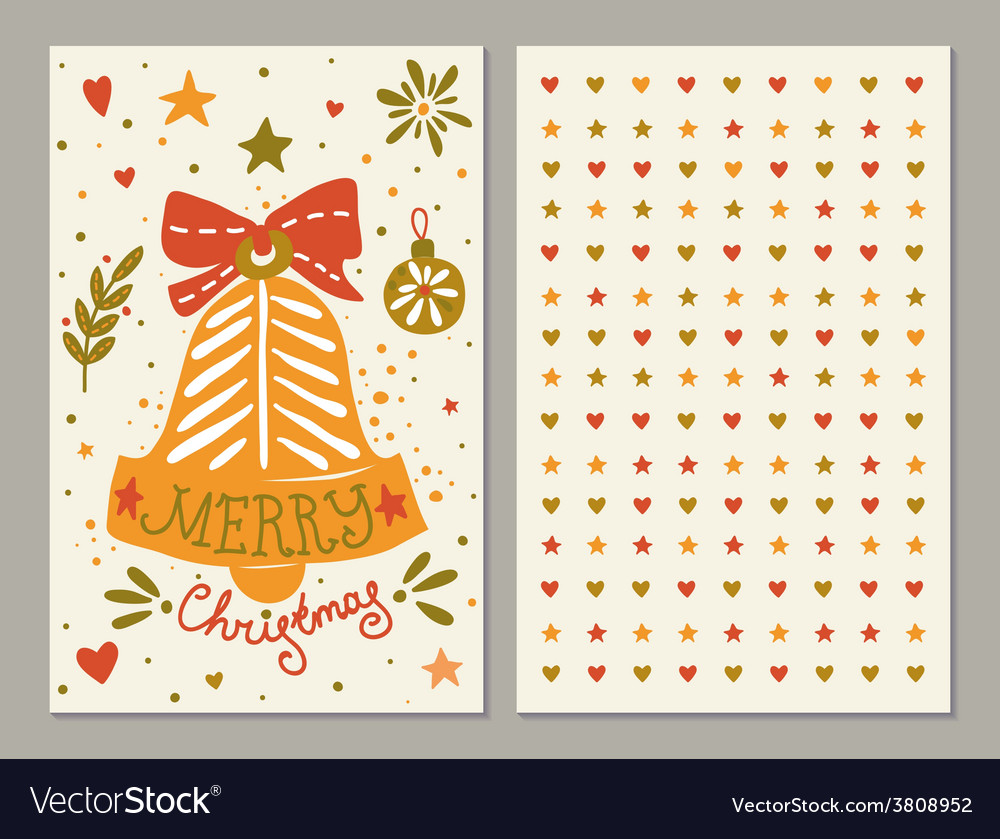 Christmas greeting card with sketchy bell and vector | Price: 1 Credit (USD $1)