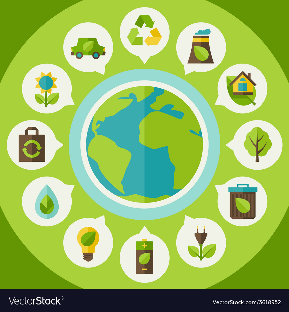 Ecology infographic with environment icons vector | Price: 1 Credit (USD $1)